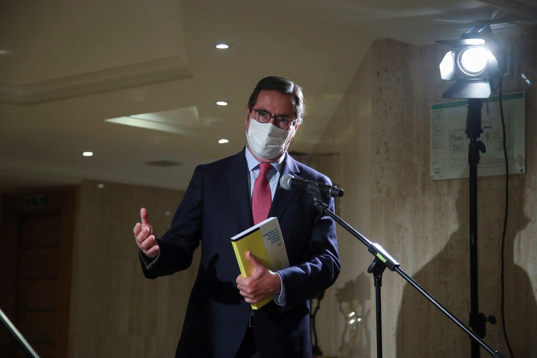 El presidente de la CEOE, Antonio Garamendi, el pasado 5 de noviembre tras reunirse con la ministra de Hacienda, María Jesús Montero.