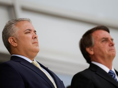 Los presidentes de Colombia, Iván Duque, y Brasil, Jair Bolsonaro, durante el encuentro de este martes.