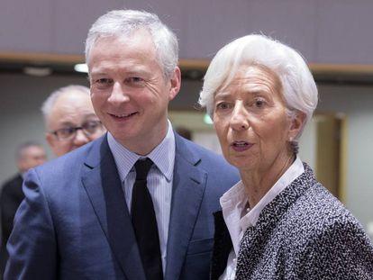Bruno Le Maire, ministro de Finanzas de Francia, junto a Christine Lagarde, presidenta del BCE.