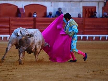 Morante de la Puebla, el sábado con uno de los toros que lidió en El Puerto de Santa María.