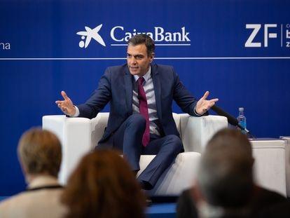 El presidente del Gobierno, Pedro Sánchez, interviene en la clausura de la tercera sesión de la XXXVI reunión del Círculo de Economía, el pasado 18 de junio, en Barcelona.