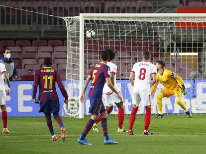 Dembélé marca el primer gol azulgrana.