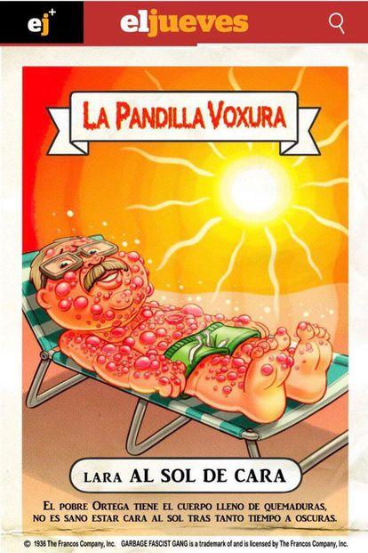 Cromo dibujado para la revista 'El Jueves' por Raúl Salazar y Juanjo Cuerda