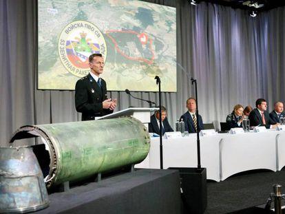 Un grupo de expertos presenta este jueves en Bunnik los resultados de la investigación sobre el lanzamiento del misil que derribó un avión en Ucrania.