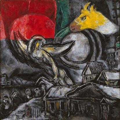 'Semana Santa' (1968), de Marc Chagall. Un óleo sobre lienzo del Centro Pompidou (París) expuesto ahora en Niza.