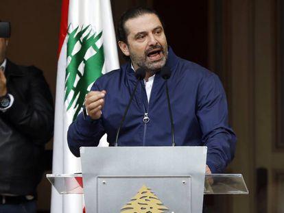 El primer ministro libanés, Saad Hariri, este miércoles durante un discurso en Beirut.