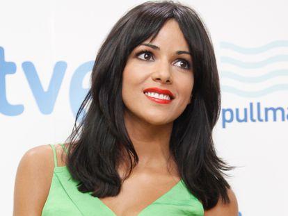 La cantante Raquel del Rosario, durante la presentación de la candidatura de El Sueño de Morfeo a Eurovisión, en mayo de 2013.