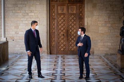Pedro Sánchez y Pere Aragonès en la reunión del pasado miércoles en el Palau de la Generalitat.