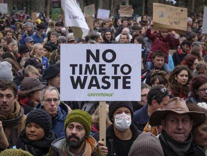 Manifestación en Bruselas en domingo contra el cambio climático.