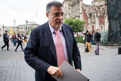 Julio Scherer Ibarra llega a un evento al Palacio Nacional, en 2019.