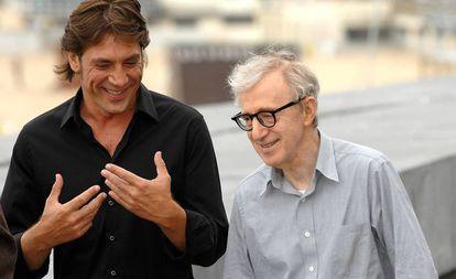 El actor Javier Bardem y el director Woody Allen en el Festival de San Sebastián en 2008.