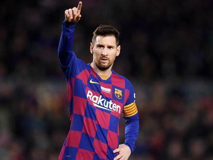 Messi, en el partido del Barcelona ante el Mallorca.