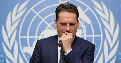 Pierre Krahenbuhl, jefe de la UNRWA, en enero en la sede de la ONU en Ginebra.