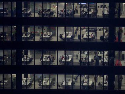 Vista de una empresa del distrito financiero de Madrid.