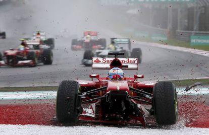 Alonso, en el momento de salirse de pista.