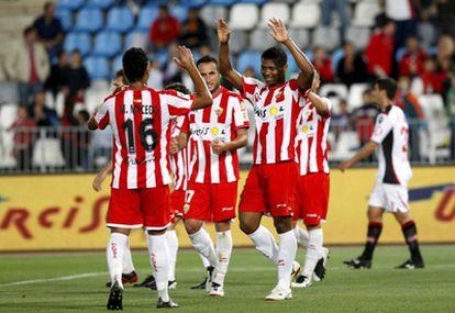 Uche celebra su gol ante el Mallorca.
