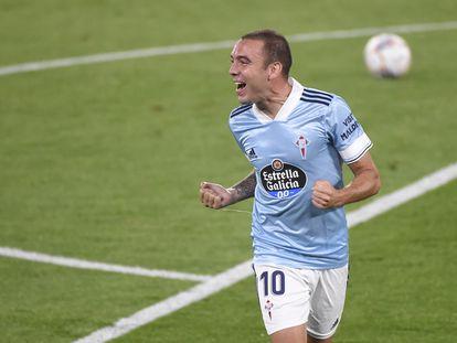 Iago Aspas celebra un gol con el Celta en Balaídos el pasado mes de septiembre.