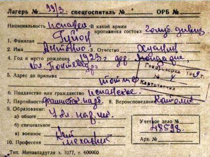 Ficha de uno de los deportados a Kazajistán.