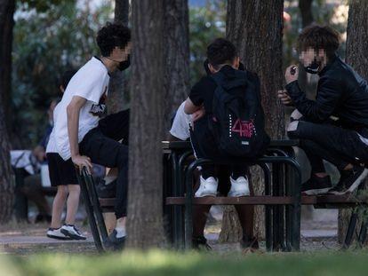 Jóvenes en un parque de Madrid.