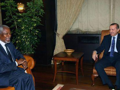 Kofi Annan y Recep Tayyip Erdogan, el pasado 12 de marzo.