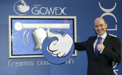 El ex presidente y fundador de Gowex, Jenaro García, en el toque de campaña que marcó el inicio de la cotización de la compañía en el Mercado Alternativo Bursátil (MAB).