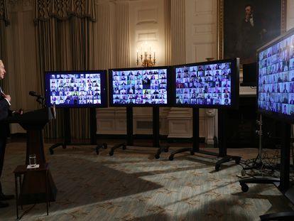Joe Biden, en una ceremonia virtual en la Casa Blanca.