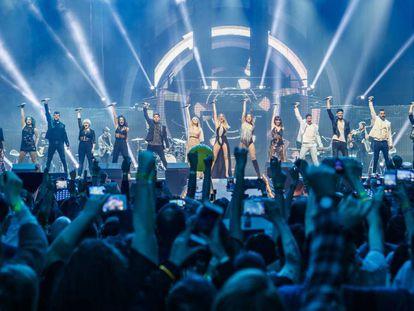 Los concursantes de 'OT 2017' durante un concierto en el Palau Sant Jordi en marzo de 2018.