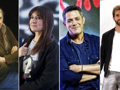 Desde la izquierda, Rosendo, Eva Amaral, Alejandro Sanz y Pablo Alborán.