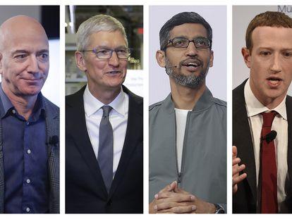 Jeff Bezos, Tim Cook, Sundar Pichai y Mark Zuckerberg.