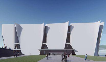 Una de las fachadas ondulantes del proyecto de Toyo Ito para el Hermitage de Barcelona.