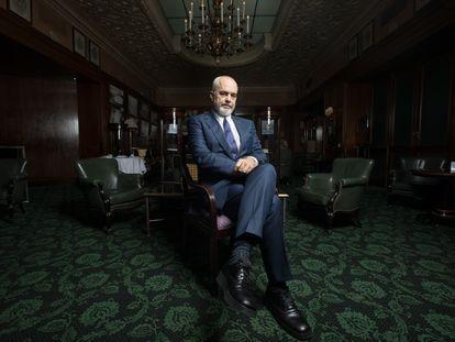 El primer ministro de Albania, Edi Rama, tras la entrevista con EL PAÍS, este lunes en un hotel de Madrid.