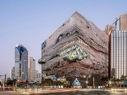 Exterior de los almacenes The Galleria diseñados por OMA en Gwanggyo (Corea del Sur).