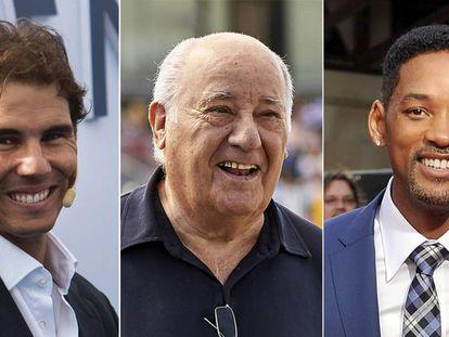 El tenista Rafa Nadal, el empresario Amancio Ortega y el actor Will Smith.