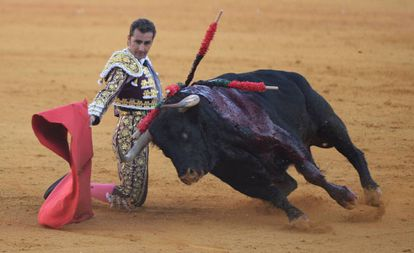 El Fandi muletea de rodillas al toro al que le cortó ayer una oreja.