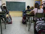 Colegio Joaquín Costa, en Madrid, donde han juntado 3 clases en un aula.