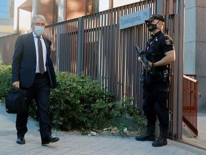 El exconsejero Francesc Homs llega al Tribunal de Cuentas en Madrid, este martes.