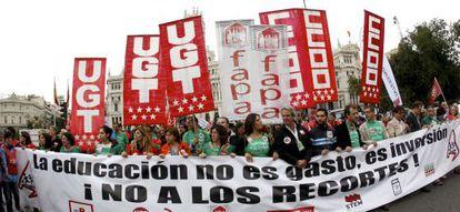Manifestación contra los recortes en Educación.
