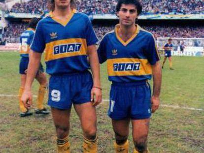 Latorre junto a Gabriel Batistuta en su primera etapa en Boca, en 1991.