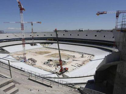 Obras del estadio de La Peineta, este mes