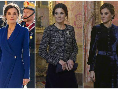 La reina Letizia, en la celebración de la Pascua Militar en 2020, 2019 y 2018.