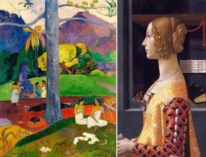'Mata Mua' (1892) y 'Retrato de Giovanna Tornabuoni' (1480), de Ghirlandaio, en el Museo Thyssen.