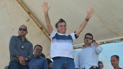 El nuevo presidente de Brasil, Jair Bolsonaro, celebra su victoria en Rio de Janeiro (Brasil).