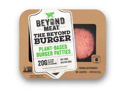 Hamburguesa de Beyond Meat, empresa de Estados Unidos que hace sucedáneos de carne con proteínas vegetales.