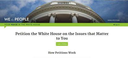 Lugar de la web de la Casa Blanca para que los ciudadanos puedan hacer sus peticiones.