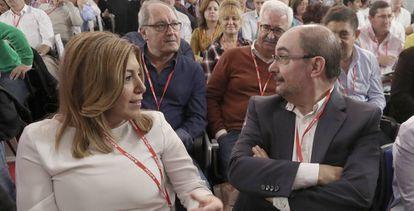 Susana Díaz y Javier Lambán, en el comité del 23 de octubre.