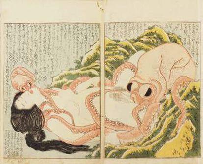 El sueño de la mujer del pescador. Xilografía de Hokusai