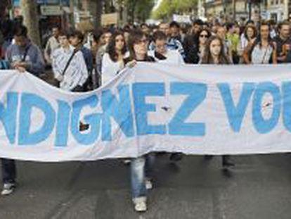 Manifestación de indignados en París.