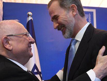 El presidente israelí, Reuven Rivli, da la bienvenida a Felipe VI en su residencia. En vídeo, las declaraciones del monarca.