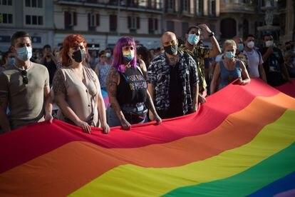 Manifestación contra la homofobia, en Málaga el pasado mes de julio.