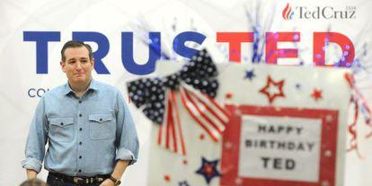 El cantidato republicano a la presiencia, Ted Cruz, en un mitin en Texas.